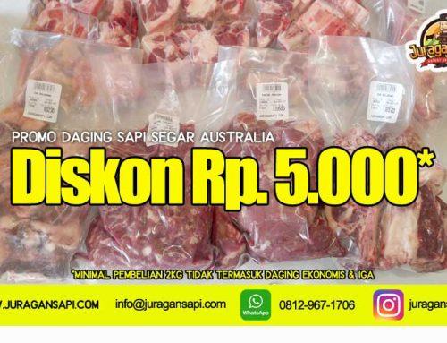 Promo diskon 5000 rupiah jual daging sapi segar